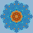 Oriental Mandala Motif Round Lase Pattern On The Light-blue Background, Like Snowflake Or Mehndi Paint In Blue And Orange Color. Ethnic Backgrounds Native Art Concept