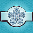 Oriental Mandala Motif Round Lase Pattern On The Blue Background, Like Snowflake Or Mehndi Paint In Light-blue Color. Ethnic Backgrounds Native Art Concept
