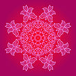 Yoga Oriental Mandala Motif Round Lase Pattern On The Pink Background, Like Snowflake Or Mehndi Paint In Red And Blue stock vector