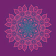 Oriental Mandala Motif Round Lase Pattern On The Pink Background, Like Snowflake Or Mehndi Paint In Red And Blue