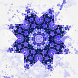 Oriental Mandala Motif Round Lase Pattern On The Gray Background, Like Snowflake Or Mehndi Paint In Light-blue Color. What Is Karma? Ethnic Backgrounds Native Art Concept