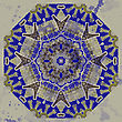 Yoga Oriental Mandala Motif Round Lase Pattern On The Gray Background, Like Snowflake Or Mehndi Paint In Blue Color stock illustration