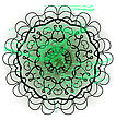 Oriental Mandala Motif Round Lase Pattern On The Green Background, Like Snowflake Or Mehndi Paint In Light-blue Color. Ethnic Backgrounds Native Art Concept. What Is Karma