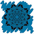 Oriental Mandala Motif Round Lase Pattern On The Blue Background, Like Snowflake Or Mehndi Paint In Light-blue Color. Ethnic Backgrounds Native Art Concept. What Is Karma