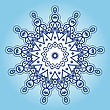 Yoga Oriental Mandala Motif Round Lase Pattern On The Blue Background, Like Snowflake Or Mehndi Paint In Light Color With Watercolor Element On Backdrop. What Is Karma stock vector