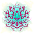 Oriental Mandala Motif Round Lase Pattern On The Blue Background, Like Snowflake Or Mehndi Paint On Light-blue Color. Ethnic Backgrounds Native Art Concept. What Is Karma
