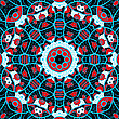 Ornamental Round Seamless Pattern With Many Details In Red And Blue