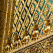 Ornamental Wall In Buddhist Temple, Grand Palace, Bangkok, Thailand stock photo