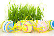 Ornate Easter Eggs With Grass stock photography