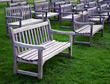 Outdoor Wooden Benches stock photo