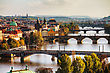 Charlesbridge Overview Of Old Prague With Charles Bridge Before Sunset stock photo
