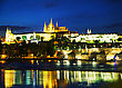 Overview Of Old Prague From Charles Bridge Side In The Night stock photography
