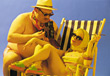 Overweight Man with Woman Sunbathing