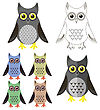 Owl Icons Isolated On White Background. Symbol Of Halloween stock illustration