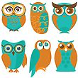 Owl Set, Cute Owls And Birds In Orange And Green Colors