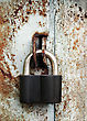 Padlock On The Garage Door stock image