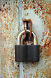 Padlock On The Garage Door stock photography