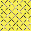 Paintbrush Seamless Pattern On Yellow Background. Set Of Brushes