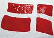 Painted Danish Flag on Wall stock photography