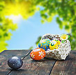 Decor Painted Easter Eggs In A Basket On The Table With Space For Text stock photo