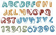 Painted Latin Letters Full Alphabet And Digits Vector Illustration