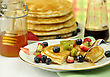 Pancake With Maple Syrup,honey And Berries