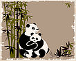 Pandas Family In The Bamboo Forest