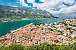 Club Panorama View To Kotor Bay In Montenegro stock photography