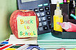 Paper Sticker With The Words Back To School And Stationery stock photography