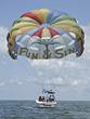 Parasailing Tourboat stock image