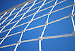Part Of Volleyball Net With Clear Blue Sky On Background stock photo