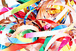Party Streamers Isolated On White Background. Close Up stock image