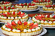 Passionfruit Cheesecake With Strawberries And Mint stock image