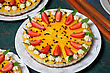 Passionfruit Cheesecake With Strawberries And Mint stock photography
