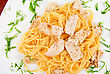 Garnish Pasta With Chicken Meat And Greens Tasty Dish stock photo