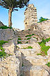 Nobility Path To The Top Of Mountain From Kantara Castle In Northern Cyprus.The Origins Of The Castle Go Back To The 10th Century. stock image
