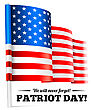 Patriot Day, September 11 Waving USA Flag . Vector Illustration