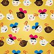 Pattern With Baby Faces, Boys And Girls stock illustration