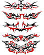 Patterns Of Black And Red Tribal Tattoo