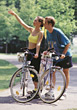 Couples Lifestyle bike mountain biking outdoors race people stock photo