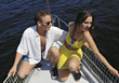 boating vacation sailing active leisure couple stock photo