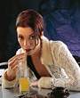 orange drinking hospitality restaurant young people stock image