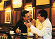 drinking coffee male bars chatting leisure stock image