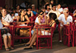 sitting crowds hospitality street cafe restaurants stock photo