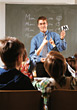 girls students male learn class children stock image
