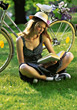 reading leisure relaxing people hat resting stock image