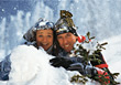 winter vacation mature snow outdoor couple stock photo
