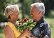 old affection mothersday poses bouquets adult stock image