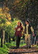 walking autumn fall outdoors people couples stock image