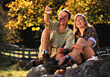 autumn fall outdoors people couples lifestyles stock photo